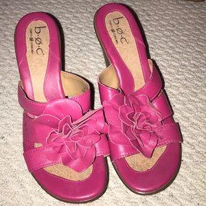 """BOC Fushia 4"""" Floral Leather Sandal"""